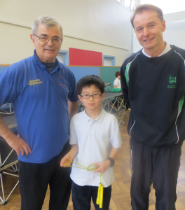Ken Tezuka (centre) with Skipping Workshops Head Coach Harold Galley (left) and Mr Svarovsky (right)